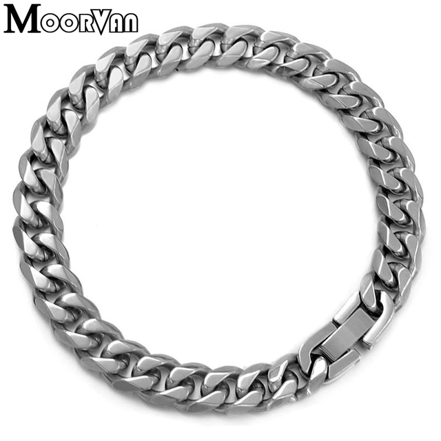 Moorvan Jewelry Men Bracelet Cuban links & chains Stainless Steel Bracelet for Bangle Male Accessory Wholesale B284 4