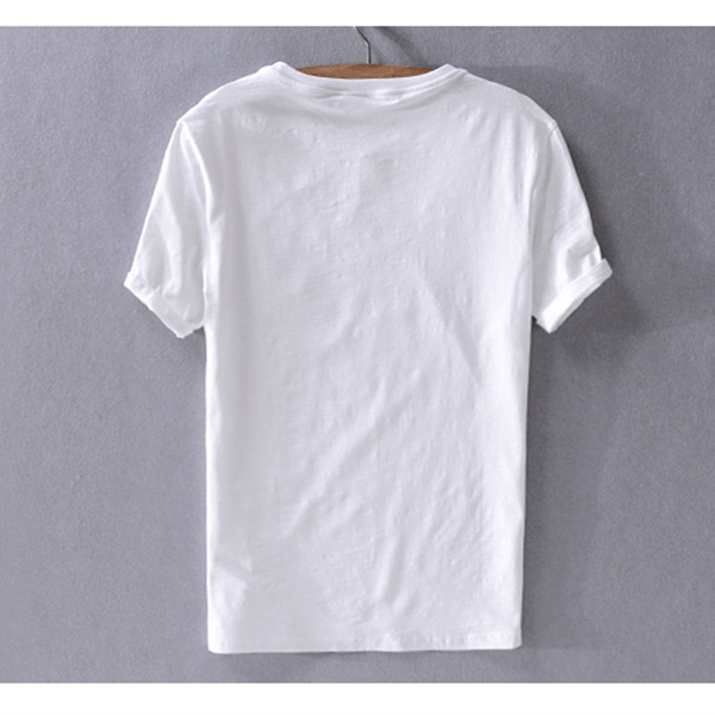 2019 Summer new mens cotton and linen short-sleeved t-shirt white loose t shirt men brand fashion casual t shirts for men camisa