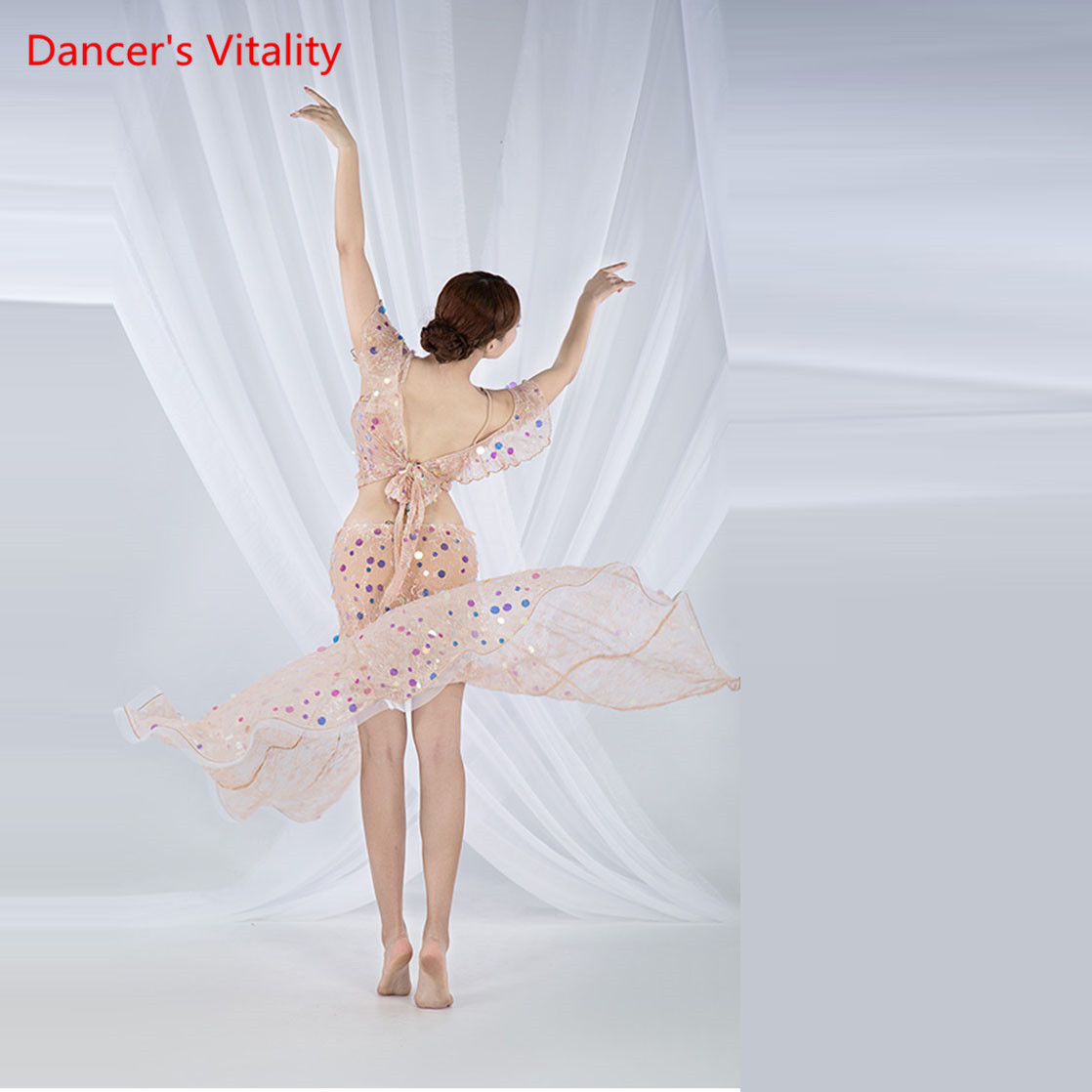 Image 4 - Women Belly Dance Practice Clothes Summer Sling Split Long Skirt Suit New Oriental Dance Set Top+Skirt 2pcs-in Belly Dancing from Novelty & Special Use
