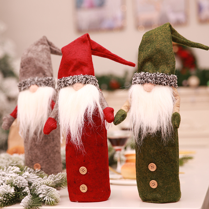 Rudolph Christmas Decorations.Us 3 79 Aliexpress Com Buy Navidad 2018 Rudolph Wine Bottle Cover Christmas Decorations For Home Rudolph Stocking Gift Holders Xmas Ornament New