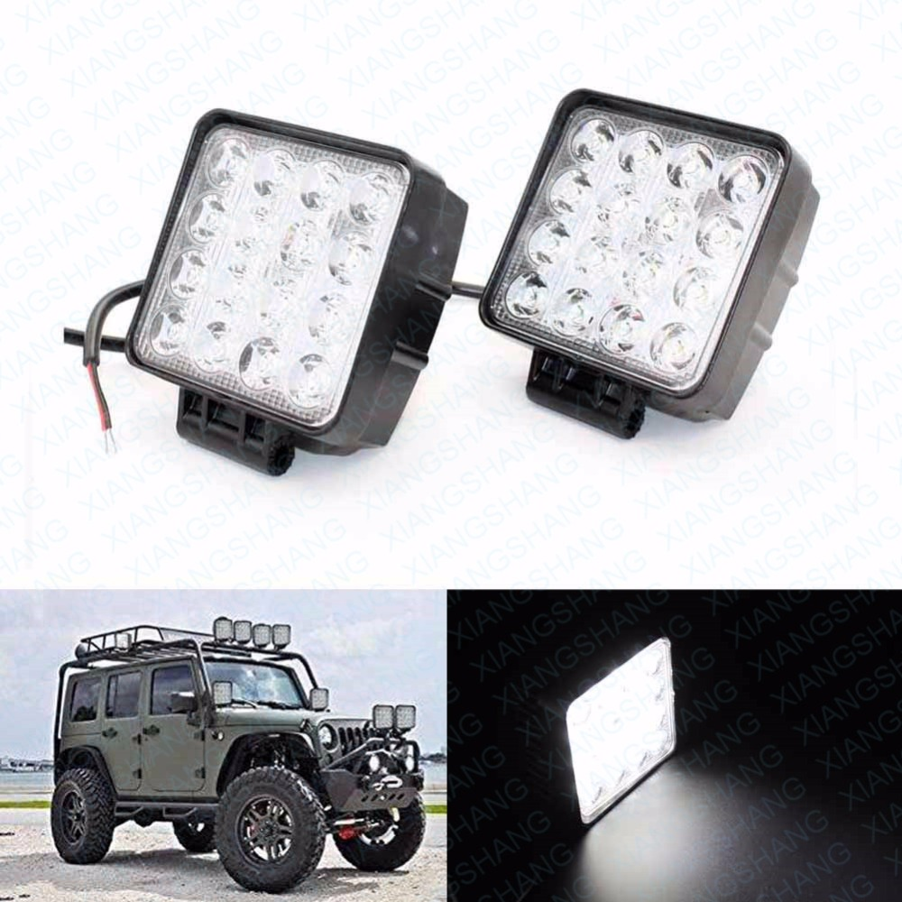 2x 4.5inch 16x3W 48W Auto LED Spot Work Light Bar Offroad Worklights Car Lighting for Truck Motorcycle Vehicle Boat SUV Driving 3 led car spot light