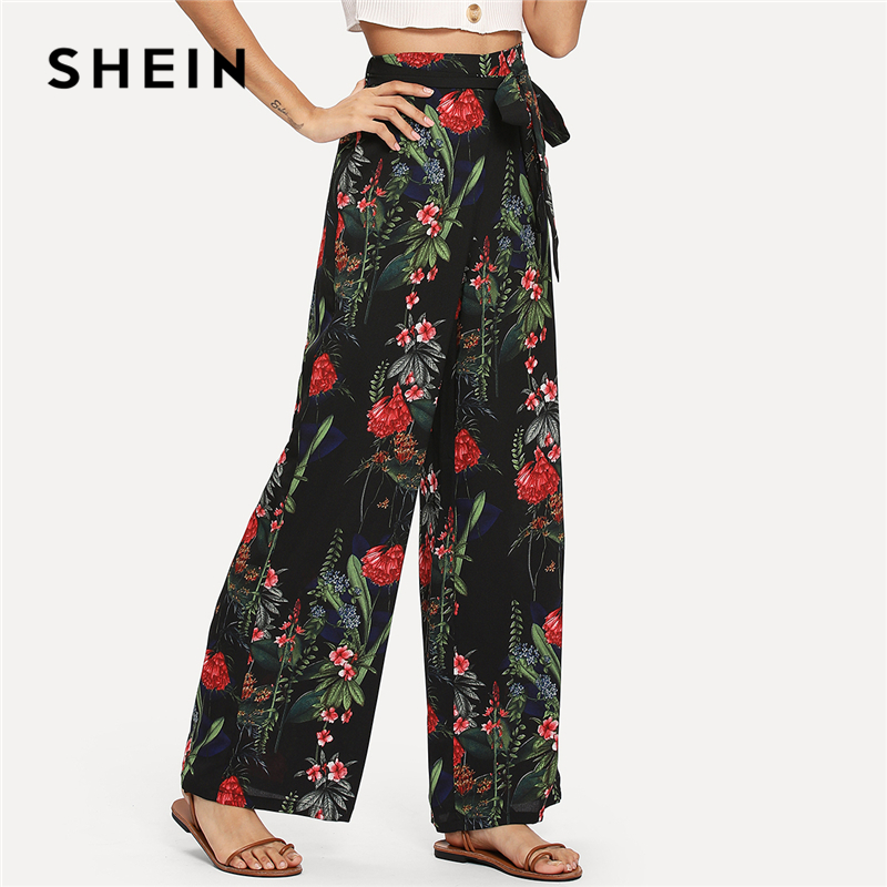 SHEIN Black Vacation Boho Bohemian Beach Floral Tropical Mixed Print   Wide     Leg   Belted   Pants   Summer Women Holiday Casual Trousers