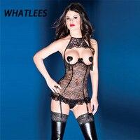 M L XL XXL plus la taille Sexy halter open cup buste dentelle bustier corset lingerie ensemble avec jarretière ceintures femmes SL282
