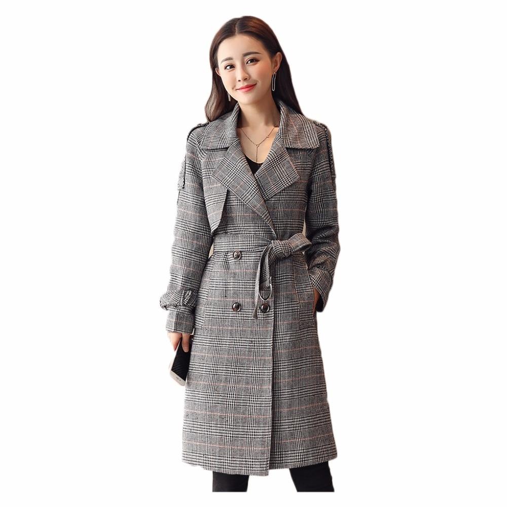 Col Gray Mode 4xl Coréenne Taille Section Plus Longue Ressort Manteau À Longues Coupe brown M Femmes Tailleur Manches Veste La vent Mince 2018 Plaid Marée qnA7FfxFag