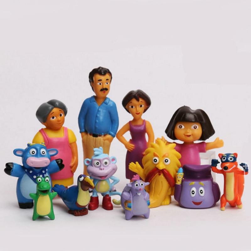 цена на 12pcs/lot Anime Cartoon Dora PVC Figures Toys Child Children Kids Toys Dolls Gifts