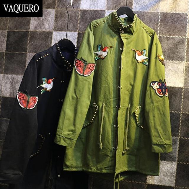 Harajuku Style Trench Coat Women Rivets Butterfly Embroidery On Back Streetwear Punk Women Windbreaker Army Green Black