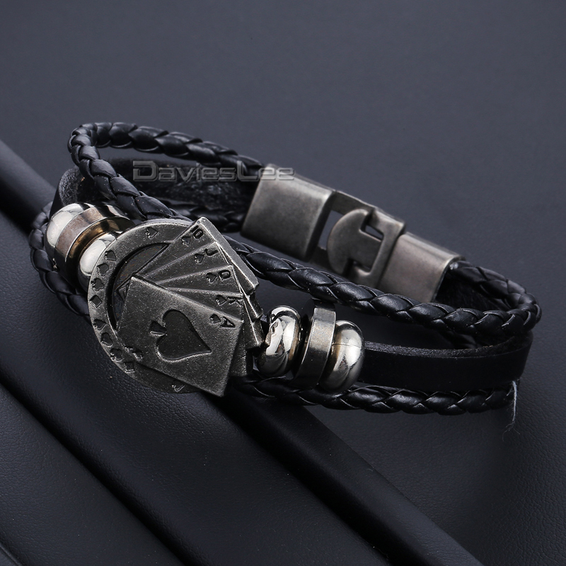 Davieslee Mens Leather Bracelet for Women Surfer Leaf Poker Charm Bracelet Friendship Jewelry DLLB675