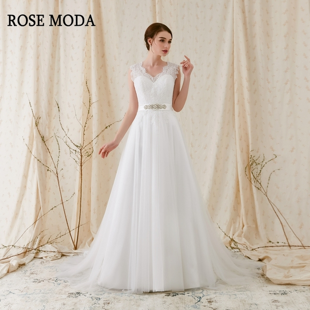 8f7430eacc534 US $238.0 |Rose Moda Lace V Neck Wedding Dress with Crystal Sash Cap  Sleeves Tulle Wedding Dresses 2019 Backless-in Wedding Dresses from  Weddings & ...