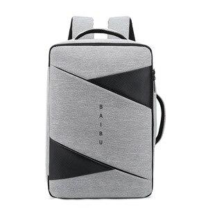 Image 5 - BAIBU sac à dos Anti vol pour hommes, sacoche ordinateurs portables dentreprise/15.6 pouces, chargeur USB, gestionnaire intelligent, sacoche de voyage en plein air