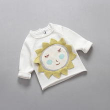 I*S Hot sale Baby Girls Fall New Kids Sunflower Little Sun Cotton Sweaters Cartoon Solid Pullover Full Sleeve Tops