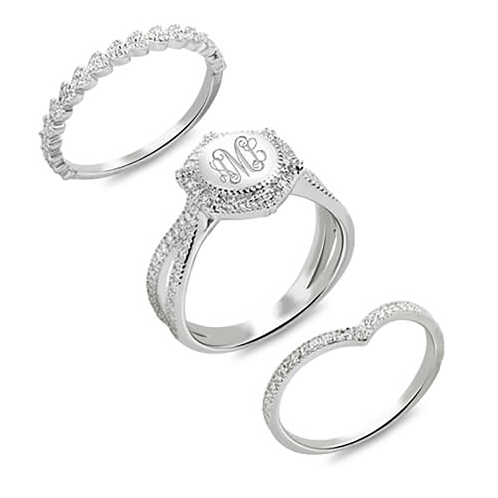 Sweey Dropshipping Custom Engraved Stackable Monogram Ring Customized Letters Ring Valentine Birthday Gift Engagement Ring