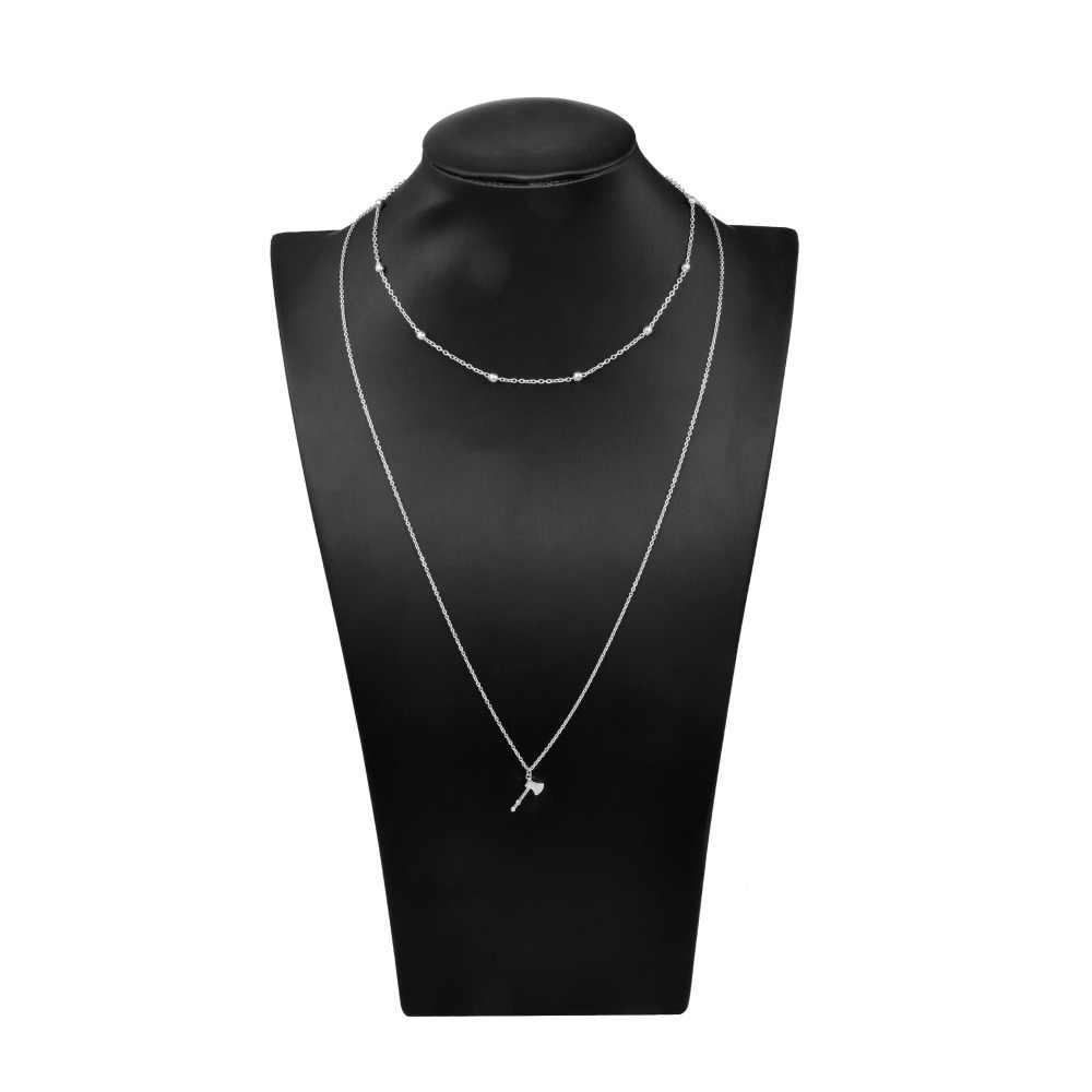 ミニマリストロングレイヤードネックレス襟ビーズヨガ矢印ハムサクリスタルゴールドシルバー多層ネックレス女性のギフトのため