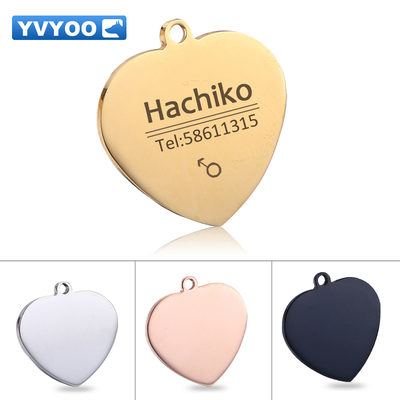 YVYOO Free engraving Pet cat collar accessories Decoration Pet ID Dog Tags Collars stainless steel dog cat tag customized tag
