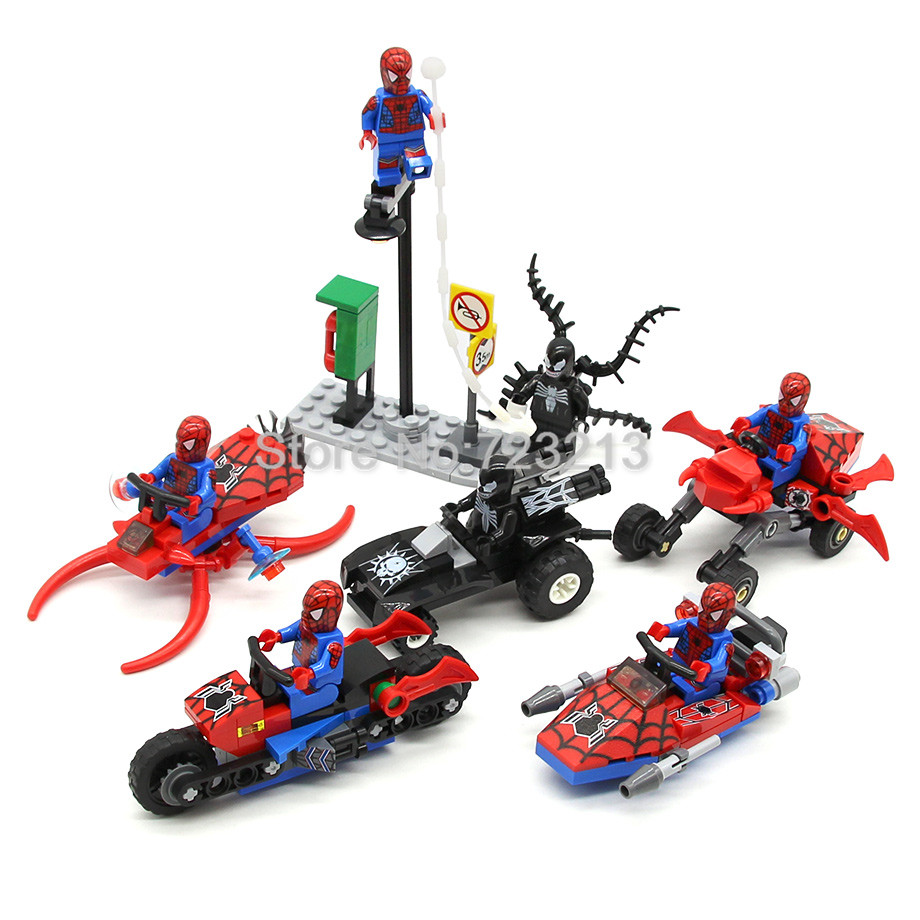Single Sale Spider Man Figure Motorcycle Venom Scanes Spiderman Marvel Super Hero Model Building Blocks Set Model Kits Toys single sale decool 0250 0255 captain america figure civil war building blocks marvel hero models toys