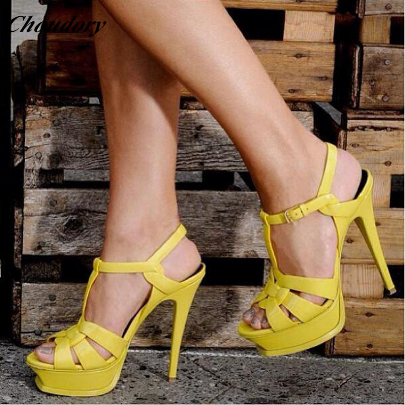 Eunice Choo Stylish High Heels Sandalias Mujer New Shoes Woman Tribute Genuine Leather High Platform Sandals Party Wedding Shoes eunice