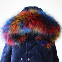 Lady Blinger New Faux Raccoon Fur Scarf Winter Jacket Hood Fur Decor Shawl Multicolor Fake Fur