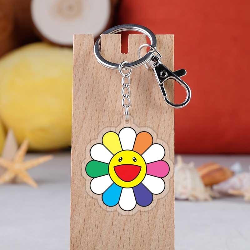 Fashion Sunflower Keyrings Japanese Murakami Takashi Cartoon Acrylic Sun Flower Car Key Holder Chain Pendants Keyrings Jewelry