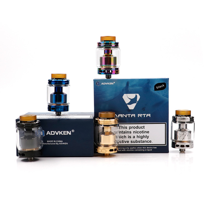 Original Advken MANTA RTA Tank 5ml Capacity Top Filling 810 Drip Tip manta atomizer with 24mm Diameter Advken manta RTA tank sweet years sy 6282l 07