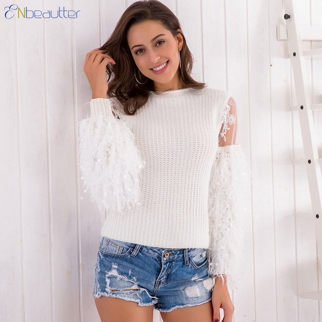 ae5c6e9cc ENbeautter 2018 New Women s Sweater Fluffy Mohair knitted Jumper Long Sleeve  O-Neck Pullover Free Size Casuals Spring Tops