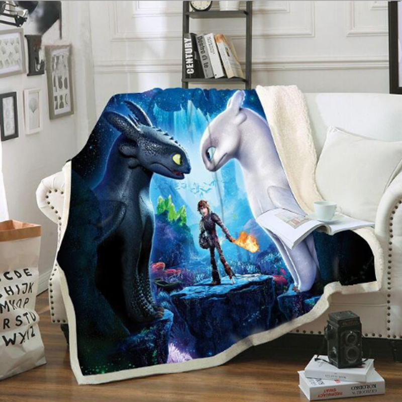 Toothless Light Fury How To Train Your Dragon 3 Printed Cotton Blanket Sofa Cover Blanket Cloak Night Fury Dragon Kids Toys