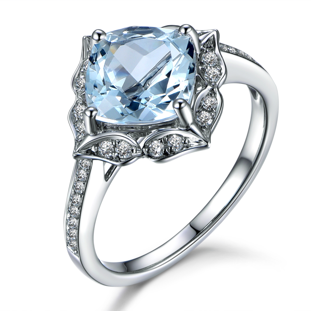 MYRAY 7x7mm Cushion Natural Blue Aquamarine Gemstone 14k White Gold Antique Engagement Rings Blue Stone Jewelry for Women Ring