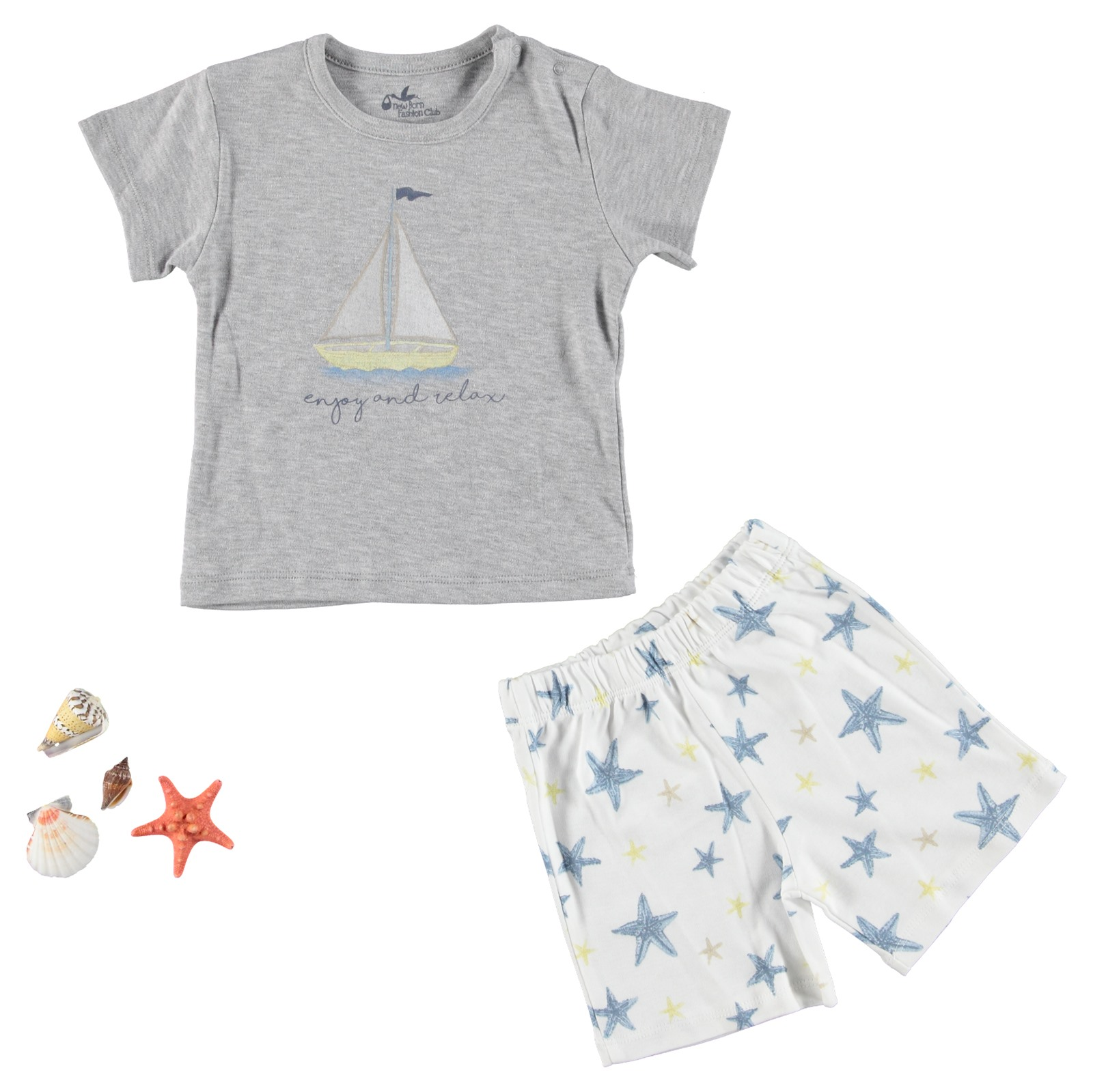 Ebebek Newborn Fashion Club StarFish Baby Pyjamas Set