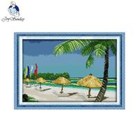 Joy Sunday Scenic Style Beach Scenery Easy Counted Cross Stitch Kits Wall Painting Christmas Gift For
