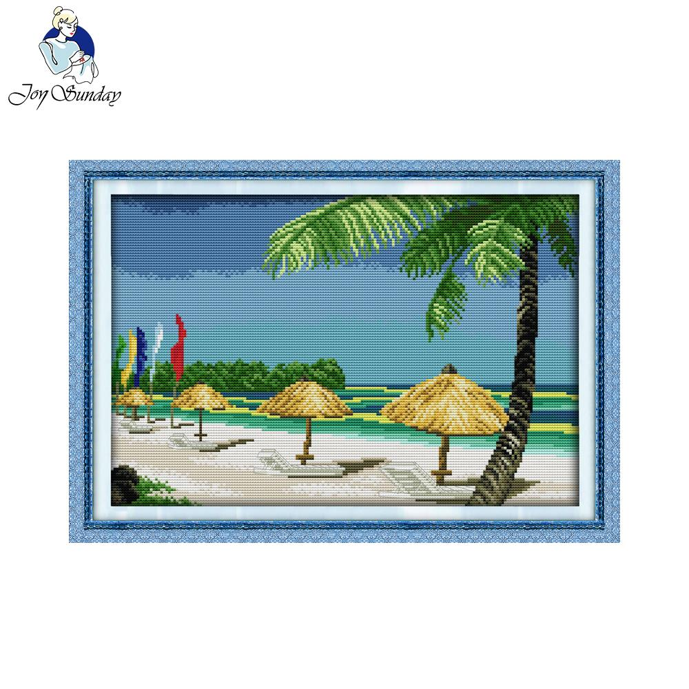 Joy Sunday scenic style Beach scenery easy counted cross stitch kits ...