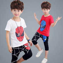 Cute Spiderman Youngsters Garments Summer season 2017 Kids Costume boys garments style toddler boys clothes units Natural cotton