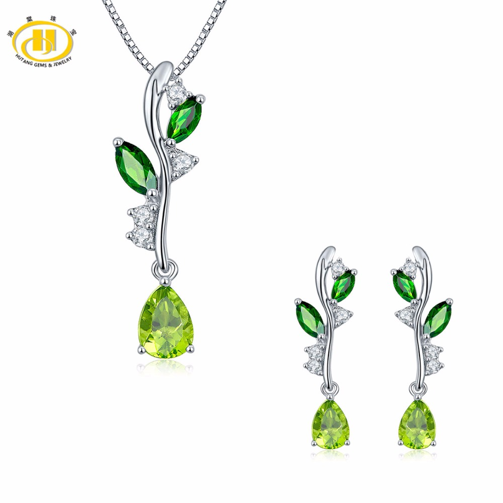 Hutang Natural Gemstone Peridot & Chrome Diopside Solid 925 Sterling Silver Leaf Pendant & Earrings Fine Bridal Jewelry Sets
