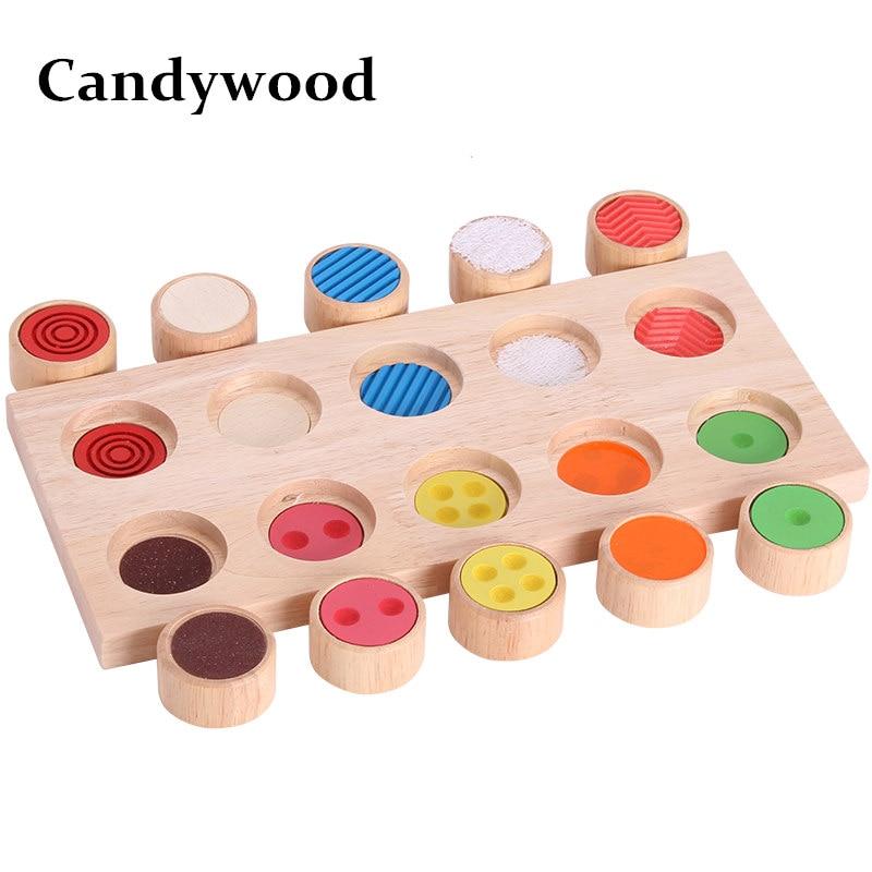 Candywood Montessori mémoire sens tactile jouet éducatif enfants apprentissage précoce enseigner jouets blocs en bois pour enfants cadeau