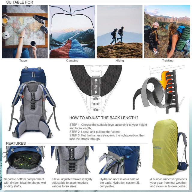 Professional Climbing Bag For Backpacker Cologne Material Internal Frame Travel HikingOutdoor Long Distance Camping Backpack