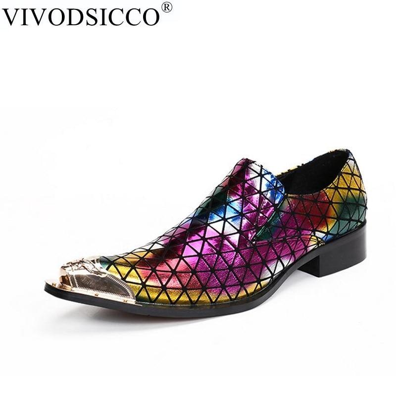 купить VIVODSICCO New Men Dress Shoes Fashion Style Man Mixed Color Bright Leather Wedding Shoes Social Sapato Male Oxfords Flats Shoes недорого