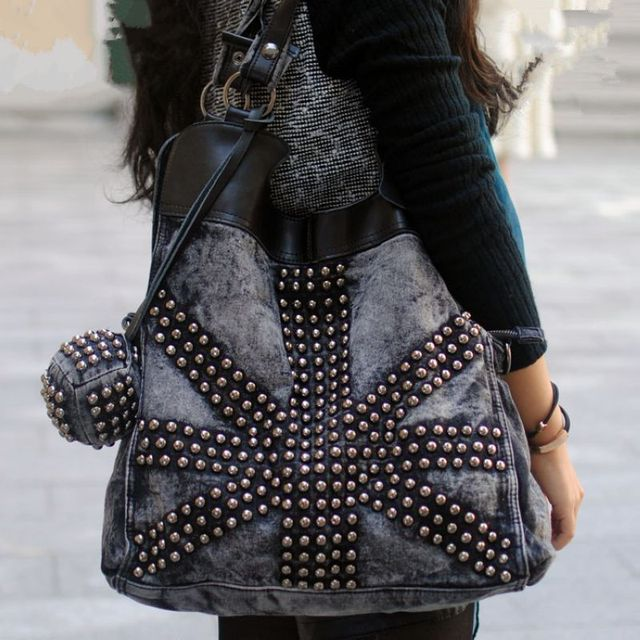 2017 New Fashion Retro Rivet Women jean Baghandbag ,ladies' cool Denim bagshoulder bagMessenger Bag~229