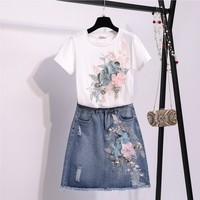 Summer 2019 Woman New fashion 3D Flowers Embroidered Sequins Short Sleeved white cotton T shirt + Denim Skirt Suit Sets