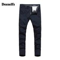 High Grade Italy Khaki Dark Blue Jeans Men Pants DE Brand Clothing Mid Stripe Slim Fit