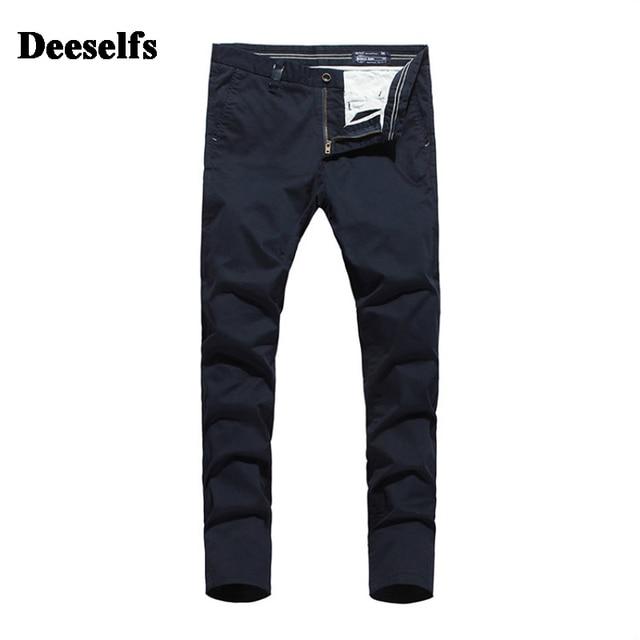5ff7a24c6c8 High Grade Italy Khaki Dark Blue Jeans Men Casual Pants DE Brand Clothing  Mid Stripe Slim Fit Men`s Pockets Jeans Uomo S363