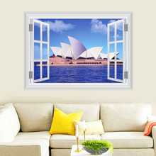 Sydney Opera House Wall Stickers Home Decor Living Room 3D Window Australia  Scenery Wall Decals PVC Mural Art Diy Posters