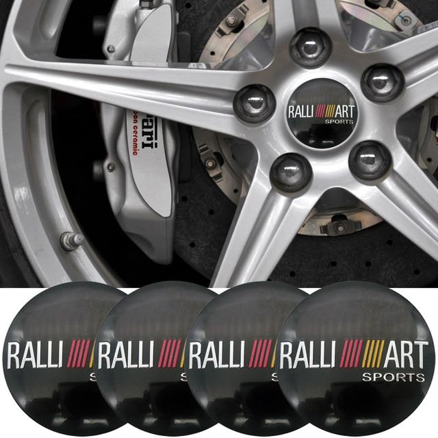 4pcs Ralli Art Sports Car Steering Tire Wheel Center Car Sticker Hub