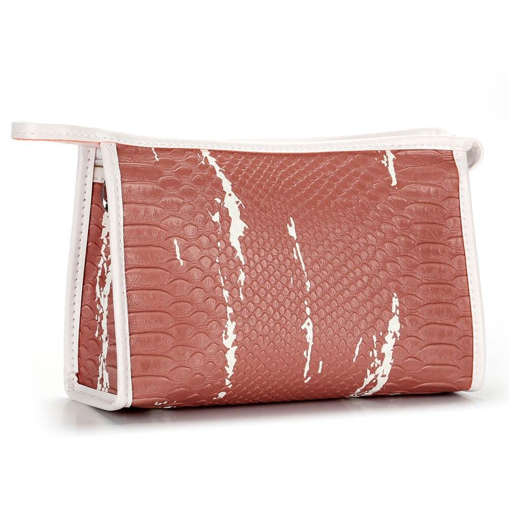 Portable Women Zipped Crocodile Skin Storage Case Organizer PU Leather Travel Cosmetics Bag Ladies Girls Makeup Bags Popular