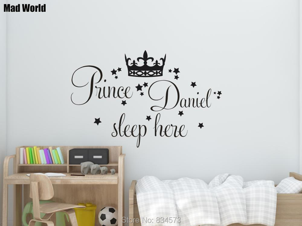 Personalised Prince Custom Name Sleep Here Wall Art Stickers Wall Decal Home DIY Decoration Removable Room Decor Wall Stickers