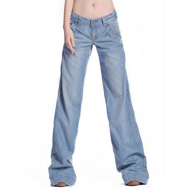 New women jeans flare bell bottom loose denim pants female light blue wide leg ladies denim