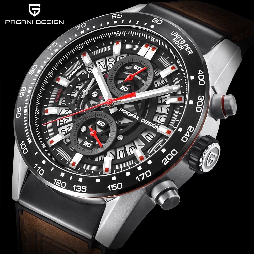 2018 New PAGANI DESIGN Fashion Skeleton Quartz Watch Leather Strap Chronograph Mens Watches Top Brand Luxury Waterproof Clock недорого
