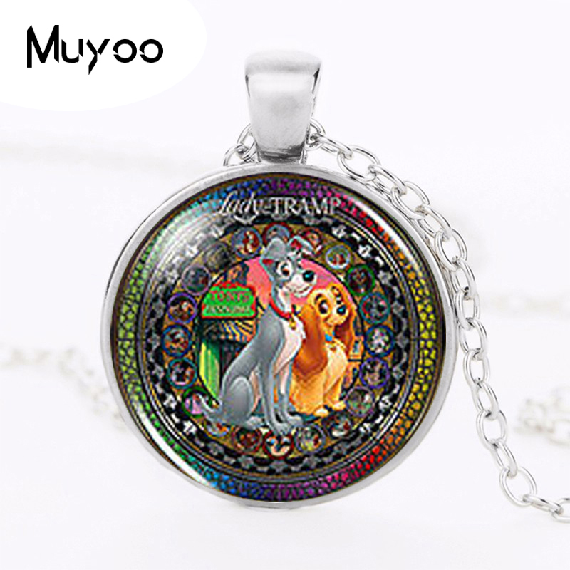 US movie Anime Lady and the Tramp Fashion Necklace 1pcs/lot brass silver Pendant steampunk Jewelry Gift women new chain toy HZ1