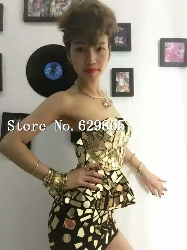 4d7df0375f6 Fait à la main des femmes or miroirs Costume haut jupe danse porter femme  chanteuse robe de soirée peu profonde Long Tube de fuite miroir Costume  dans ...