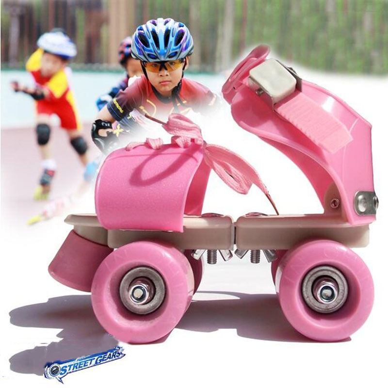 New Adjustable Size Children Roller Skates Double Row 4 Wheels Skating Shoes Sliding Slalom Inline Skates Kids Gifts eur size 20 30 adjustable children roller skates 2 colors double row 4 wheels skating shoes kids two line toy patines gifts car