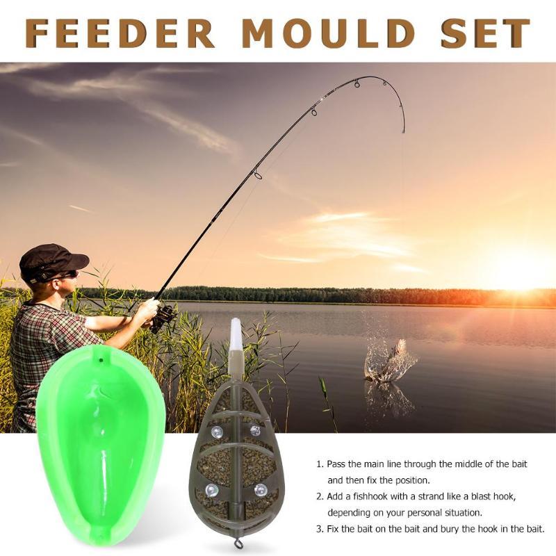 Inline Method Feeder Mould Set Carp Fishing Bait Holder Tool Fishing Accessories
