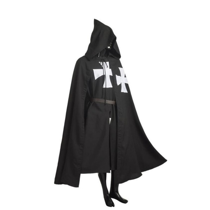 1Pcs/ Set Medieval Crusaders Knight Hooded Cloak Pope Warrior Death Knight Costume Cosplay Cloak Robe Black