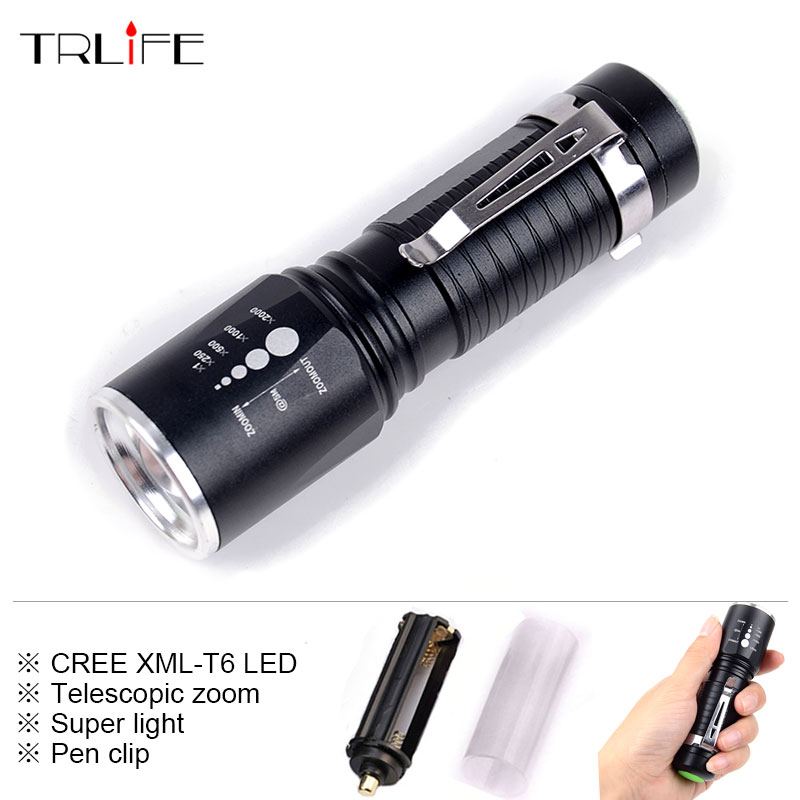 Portable CREE XML-T6 5 Modes Zoomable LED Flashlight Torch Aluminum Waterproof Led Light for 18650 Rechargeable/AAA Battery цена
