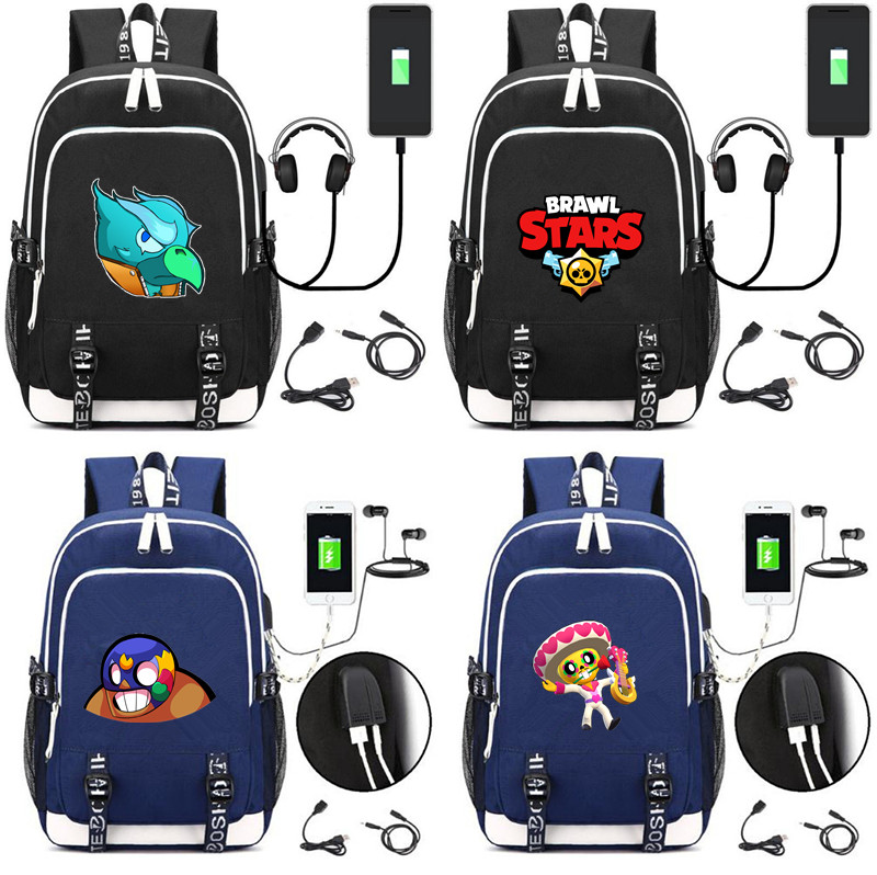 US $27 29 9% OFF|Brawl Stars canvas Backpack USB Charging school bag Men  women music mochila Poco Crow shoulder bag travel laptop bagpack-in  Backpacks